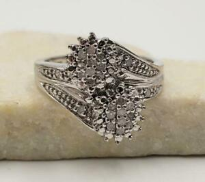 Chuck Clemency Diamond Cluster Platinum Over Sterling Silver Cocktail Ring size7