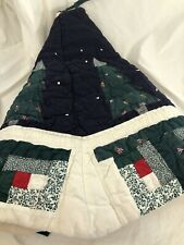 vtg Quilt Christmas Tree Skirt Handmade Blue Shabby Chic Country Cottage 38""