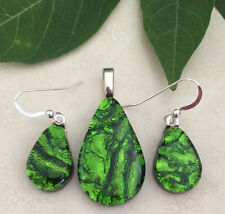 Green Wavy Pattern Fused Dichroic Glass Matching Teardrop Earrings Pendant Set