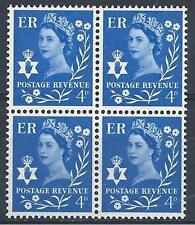 Northern Ireland 1967 Sc# 2 Queen Elizabeth 4p Great Britain GB block 4 MNH