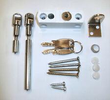Multi Purpose Locking Door/ Window Bolt Sliding Patio Lock Metal White +2 Keys