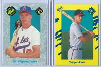 (2) CHIPPER JONES 1990 CLASSIC ROOKIE CARD LOT #T92 & #1! ATLANTA BRAVES!