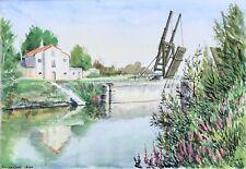 Aquarelle Originale Paysage Provençal Provence Rivière Pont Van Gogh Arles 1980