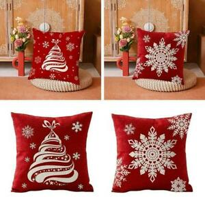 Merry Christmas Red Letter Pattern Linen Pillow Cover Decor NEW Cover Home W3C6