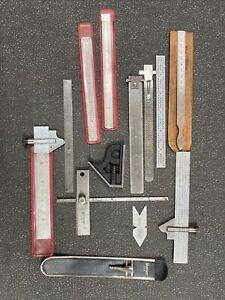 Starrett Scale Ruler Lot W/ 11 Measuring Tools & Case & Handle (w/ Taper Gage)