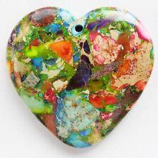 Q037130 Beautiful Rainbow Sea Sediment Jasper&Pyrite heart pendant bead