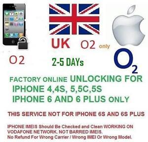 O2 UK Network factory Unlocking for IPHONE 3,4,4/s,5/5c/5s, 6/6+ 7 unlock code
