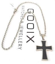 GOOIX Edelstahl Herrenkette Kette Anhänger Kreuz Carboneinlage schwarz NEU 85