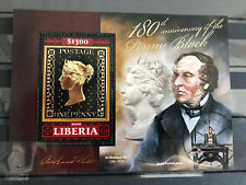More details for liberia stamps-on-stamps stamps 2020 mnh penny black 180th anniv sos 1v s/s