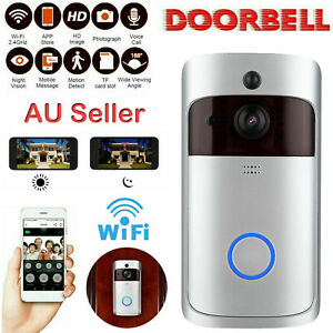 Wireless Doorbell WiFi Video Phone Intercom Door Ring Security Camera Rainproof