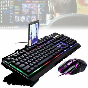 LED Beleuchtete Tastaturen Gaming Tastatur und Maus Tastatur Set für PC Laptop