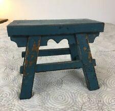 AAFA Primitive Antique Vermont Four Legged Stool with Original Blue Paint