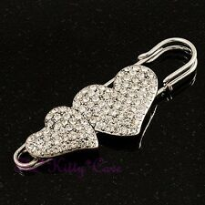 Large Silver Double Twin Hearts Kilt, Safety Pin Brooch w/ Swarovski Crystals
