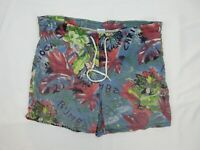 Vintage Mens Board Shorts Size M Beach 90s Bright Loud Mambo Festival Surfing