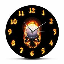 Demon Skull In Fire With Burning Numbers Modern Wall Clock Heavy Metal Flaming