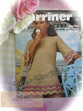 Vintage 70's Crochet Pattern Wavy Stitched Dress Or Tunic. 6 Sizes 24-34in. Bust