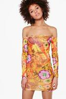 LADIES YELLOW FLORAL OFF THE SHOULDER BODY CON DRESS IN SIZE S/M TO FIT SIZE 10