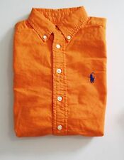 Ralph Lauren Boys Long Sleeve Oxford Shirt Bright Signal Orange Sz S (8) - NWT