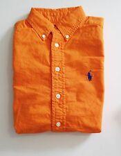 Ralph Lauren Boys Long Sleeve Oxford Shirt Bright Signal Orange Sz XL - NWT