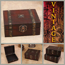 VINTAGE RETRO WOODEN SMALL CHEST / WOOD BOX FOR JEWELRY / ART CRAFT DECOUPAGE