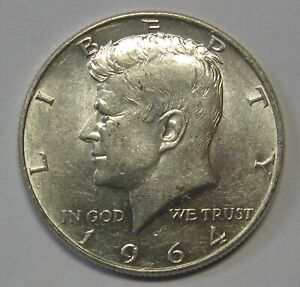 1964 John F Kennedy Silver Half Dollar in the AU Range Priced Right Shipped FREE