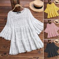 Women Summer Bell Sleeve Eyelets Shirt Hollow Out Tops Blouse T-Shirt Tee S-5XL