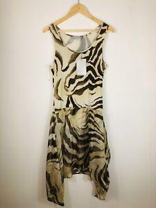 NEW W/TAGS Max Mara Vintage Women's Brown Zebra Print Floaty Dress Large 14/16