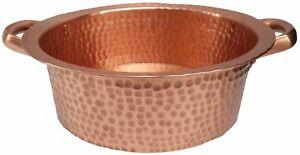 Polished Golden Copper Vessel Pan Side Handles Sink Toilet Bathroom Remodel