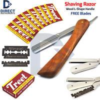 Solid Wood L-Shape Handle Barber Shaving Razor Straight Shave Cut Throat Blades