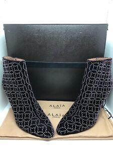 Azzedine Alaia Studded Velvet Boots Ankle Booties Size 40 NIB