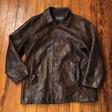 Eddie Bauer Brown Leather Car Coat Men's XL?