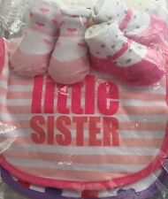 GORGEOUS NEW BABY 'LITTLE SISTER' BIB AND SOCK GIFT SET. (2 Of Each) BNWT