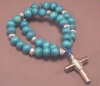 Christian Prayer Bracelet DOUBLE LOOP Wood Bead Silver Tone Cross BLUE Gift!
