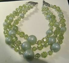 beaded necklace with silver tone fittings Wonderful 3 string pretty light green