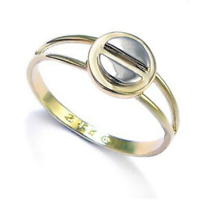 14k Solid two tone Gold Design Ring size 4 to 9.5