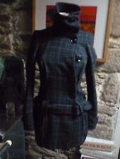 Topshop ladies wool mix tartan coat lined funnel neck/ belt stylish 8