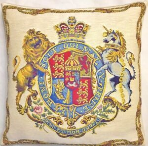 """ROYAL COAT OF ARMS OF THE UK 18"""" X 18"""" BELGIAN TAPESTRY CUSHION COVER + ZIP 1818"""