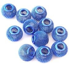 9Large hole Round Blue Mesh Wire Beads 13x11mm Jewelry Supplies