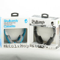 Skullcandy Cassette On-Ear Stereo Foldable Headphones w/Mic Remote Black & Blue