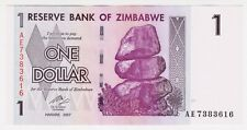2007 Zimbabwe Harare 1 Dollar Unc Paper Money Banknotes Currency