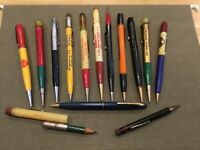 Lot of 14 Vintage Advertising Mechanical Pencils, 40's-60's