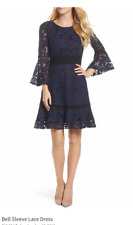 $138 ELIZA J BELL SLEEVE LACE FIT & FLARE NAVY DRESS sz 8 Medium NEW WITH TAG