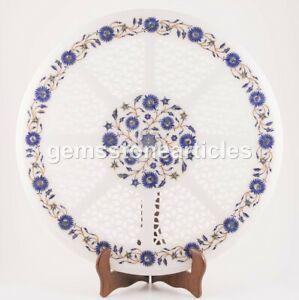 Round Coffee Table Pietra Dura Lapis Inlay Stone Floral Filigree Design Décor