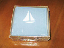 Dry Duck Drink Coasters Blue Cloth w White Sail Boat Washable Scratch Cape Cod
