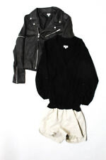 By Chance Womens Leather Suede Zip Up Jacket Button Up Romper Gray Black M Lot 2