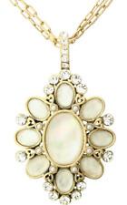 £55 Baroque Gothic Gold Cream Oval Pendant Necklace Swarovski Elements Crystal