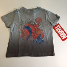 Spider Man Sz 12 Months Marvel Short Sleeve Gray Black Boys Top Graphic T Shirt