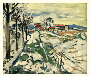 "Maurice Vlaminck lithograph by Mourlot ""Hills at Chatou"""