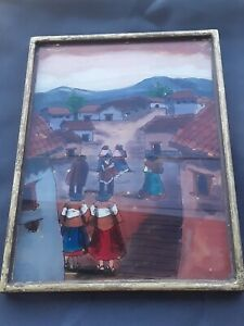 Vintage Traditional Peruvian Village Pictures, Reverse Painted, Folk Art