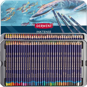 NEW 72 Derwent InkTense Colour Pencils Coloured Full Set Mix w/ Water Tin Case